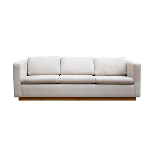 Modern Linen Sofa With an Oak Plinth Base For Sale