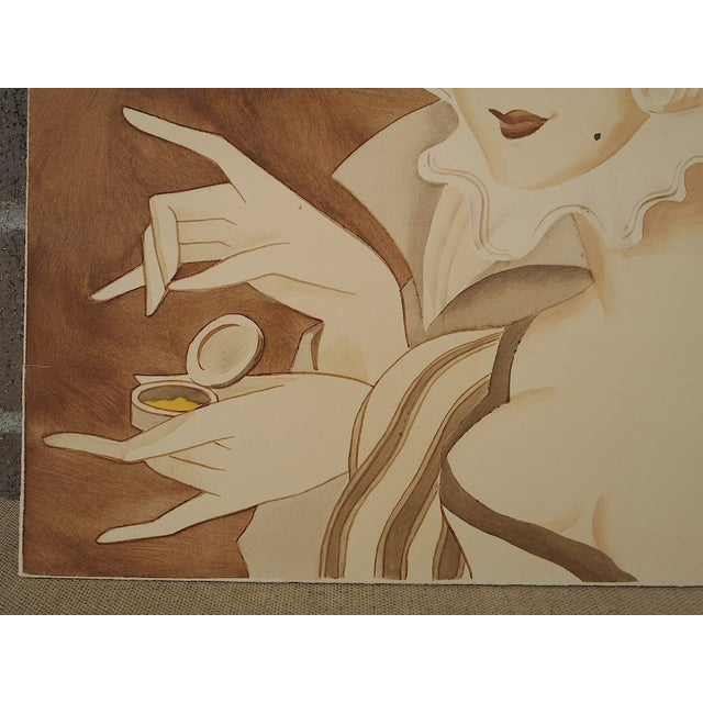 Vintage Mid 20th C. Signed Sepia Gouache Painting - Image 5 of 7