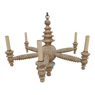 Paul Marra Shaded Spool Chandelier in Driftwood For Sale
