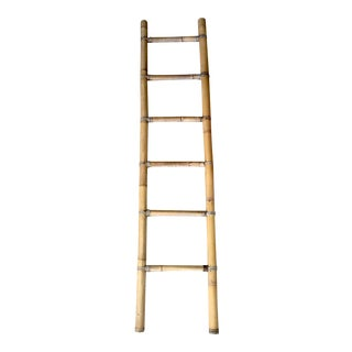 Vintage Tall Bamboo Ladder Towels Rack For Sale