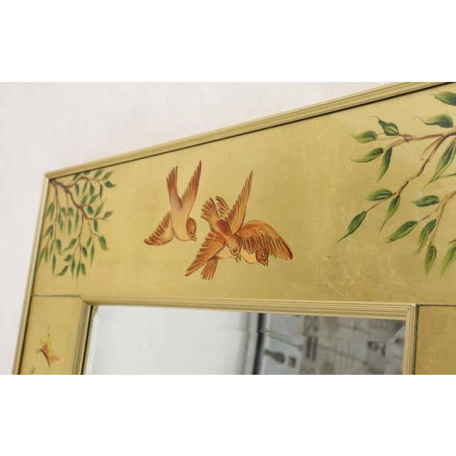 Decorative reverse painted Artist-signed rectangular mirror attributed to La Barge. Beautifully incased in metal molding...