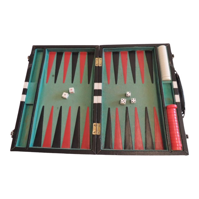 Vintage Black, Green and White Backgammon Game For Sale