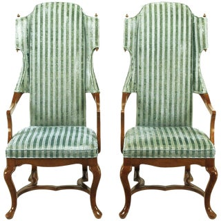 Pair of Tall Wing Chairs in Cut Velvet With Brass Finials by Jim Peed For Sale