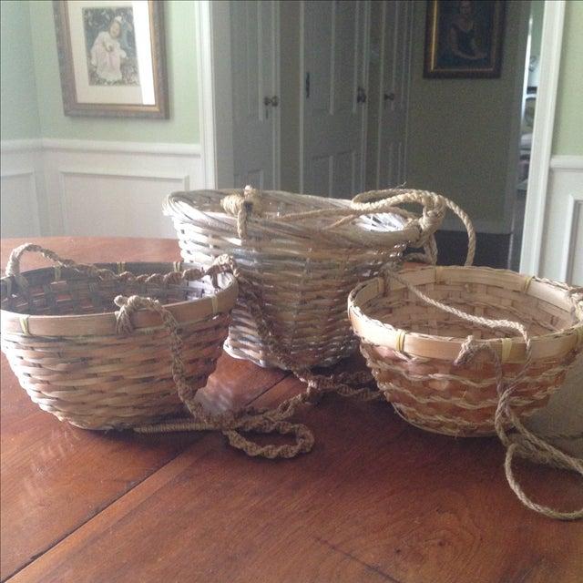 Vintage Hanging Wicker Baskets - Set of 3 - Image 11 of 11