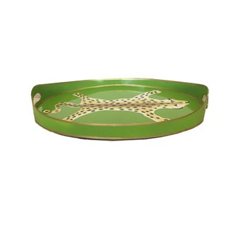 Contemporary Green Painted Tole Leopard Serving Tray Preview