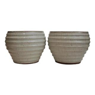 Glazed Pottery Wabi Sabi Planters - A Pair