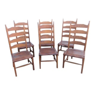 Hunt Country Oak & Pine Ladderback Dining Chairs-Set of 6 For Sale