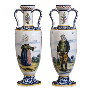 19th Century French Hand-Painted Brittany Vases Signed HB Quimper - a Pair For Sale