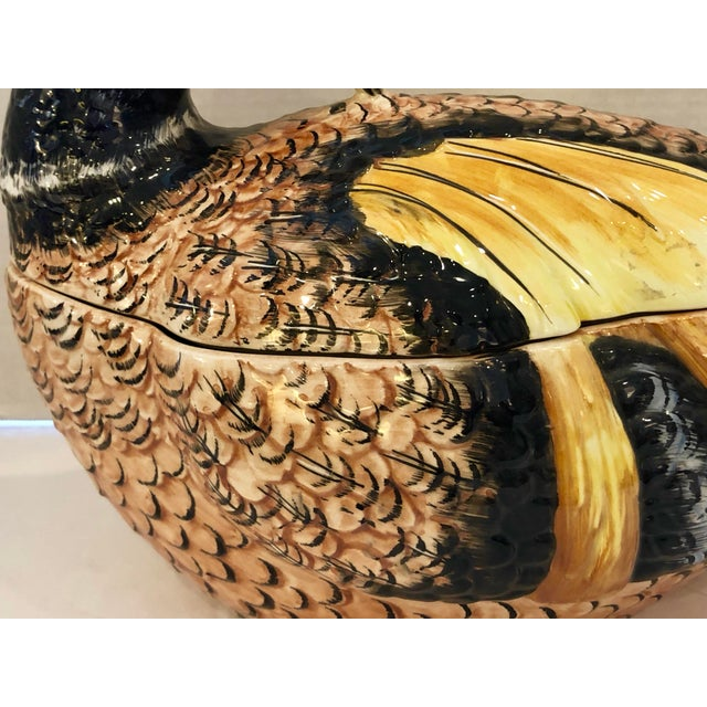 Italian Hand Painted Glazed Ceramic Pheasant Soup Tureen For Sale - Image 12 of 13