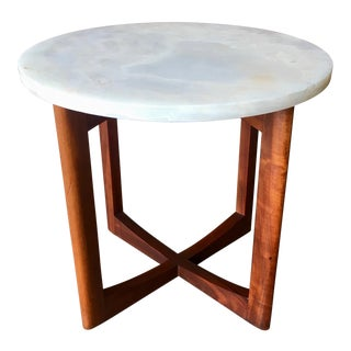Mid Century Modern Walnut and Oynx Side Table For Sale