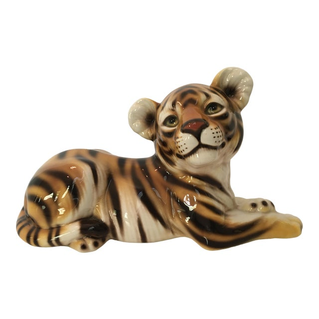 Large Scale Mid Century Italian Hand Painted Majolica Resting Tiger For Sale