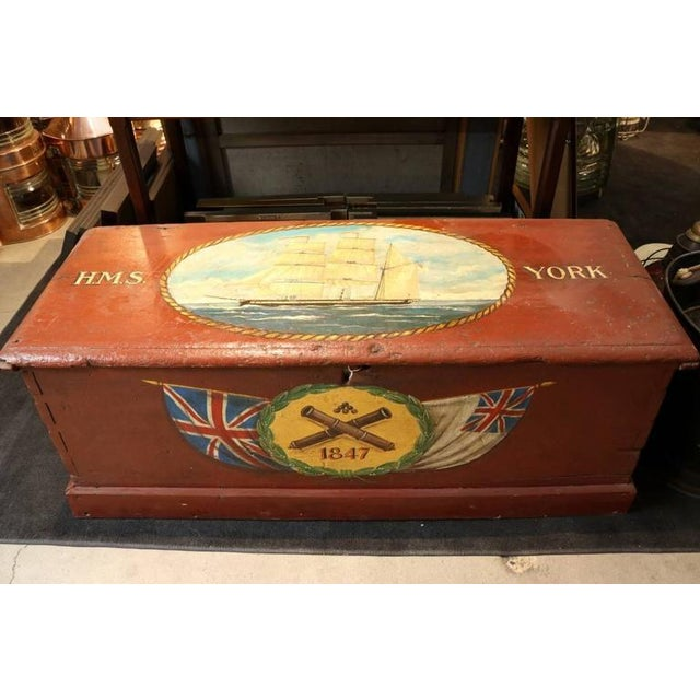 Nautical Painted Sea Chest For Sale - Image 3 of 6