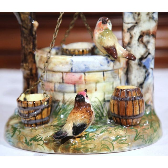 19th Century Hand-Painted Barbotine Majolica Well Sculpture With Birds Signed J. Massier - Image 3 of 10