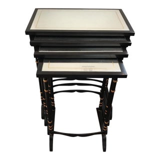 Transitional Mirrored Top Nesting Tables - 4 Pieces For Sale