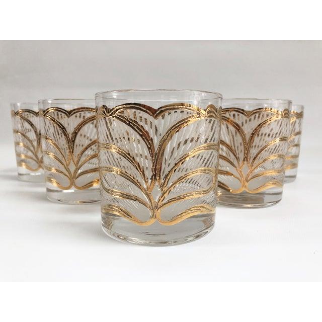 Glass Mid-Century Hollywood Regency Gilt Rocks Glassware - Set of 5 For Sale - Image 7 of 8