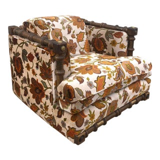 Mid Century Modern 1970s Paisley Chair With Brass Accents For Sale