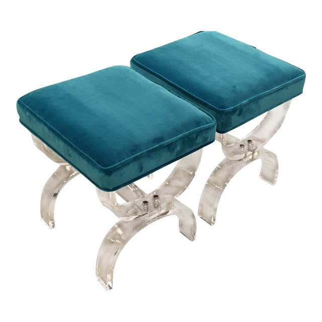 Vintage Hollywood Regency Blue Velvet Lucite X Benches Stools -A Pair For Sale
