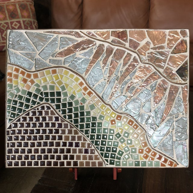 Abstract 1960s Vintage Tile Glass and Copper Encased Mosaic Wall Hanging For Sale - Image 3 of 12