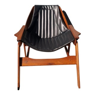 1960s Vintage Jerry Johnson Walnut Sling Chair For Sale