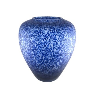 Hand Blown Satin Glass Vase With Cobalt Speckles For Sale