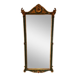 Vintage Hand Painted Italian Green Gilt Mirror For Sale