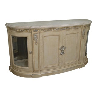 Henredon Visage Collection Cream Painted Marble Top Curio Sideboard