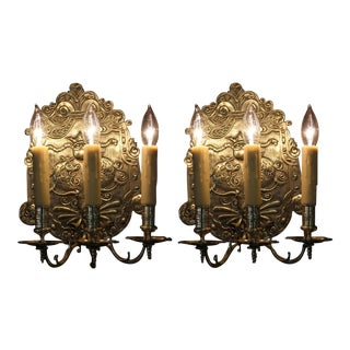 French Bronze Sconces - a Pair For Sale