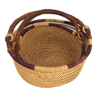 Leather Handled Open Weave Nesting Baskets - a Pair For Sale