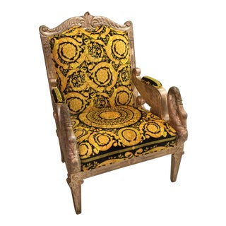 1960s Vintage Gianni Versace Black Gold Upholstery Throne Swan Chair For Sale