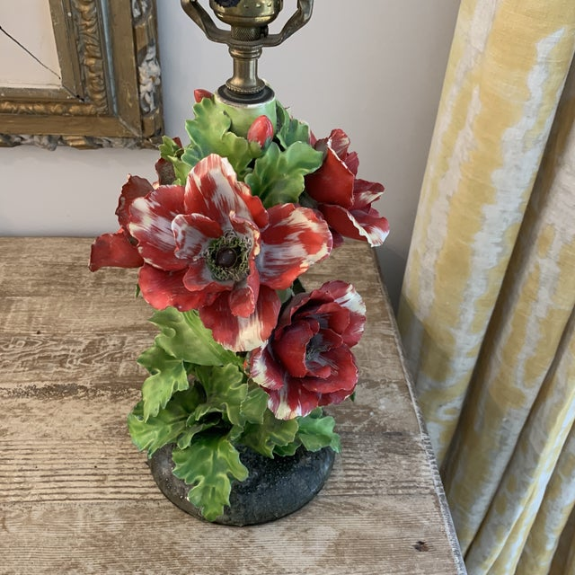 Vintage Fine Porcelain Red Anemone Flower Lamp With Shade For Sale - Image 10 of 11