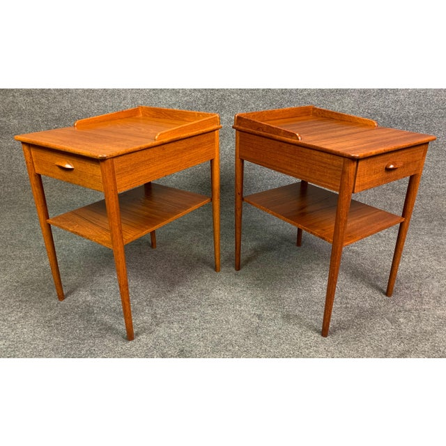 Pair of Vintage Danish Mid Century Modern Teak Side Tables by Erik Andersson For Sale - Image 9 of 10