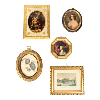 Antique Florentine Gilt Wall Art Collection - Set of 5 For Sale