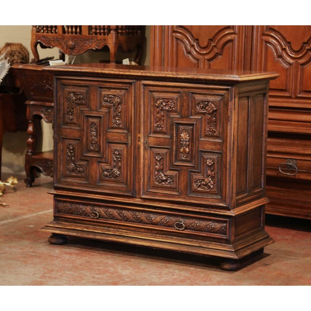 Metal 19th Century Italian Carved Walnut Two-Door Buffet Cabinet With Bottom Drawer For Sale - Image 7 of 13