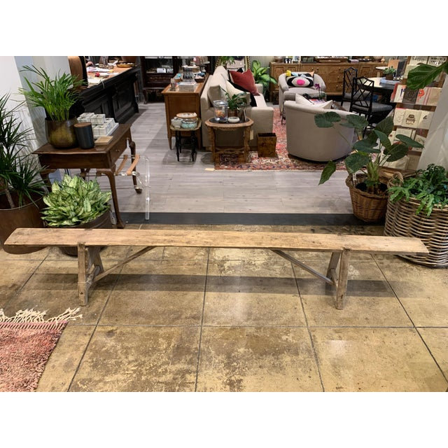 Antique French Long Primitive Bench For Sale - Image 12 of 12