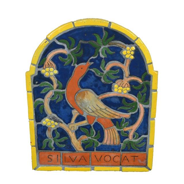 """1960s Vintage Henry Mercer Moravian Tile Works Red Bird on Branch """"Silva Vocat"""" Plaque For Sale"""