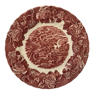 Vintage English Red and White Transferware Plate For Sale