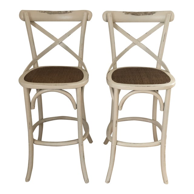 French Style Cadence Counter Stools - a Pair For Sale