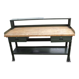 Antique Metal Industrial Butcher Block Table