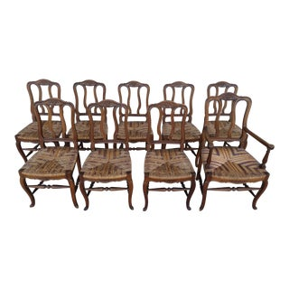 Louis XV French Country Dining Chairs - Set of 9