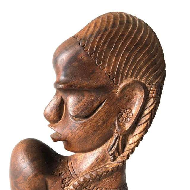African Carved Wooden African Female Bust For Sale - Image 3 of 5