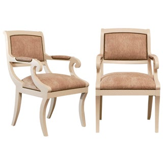 Gorgeous Karl Springer Style Regency Armchairs in Cream Lacquer - 4 Available For Sale