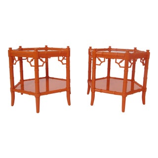 Asian Modern Style Orange Faux Bamboo Side Tables - a Pair For Sale