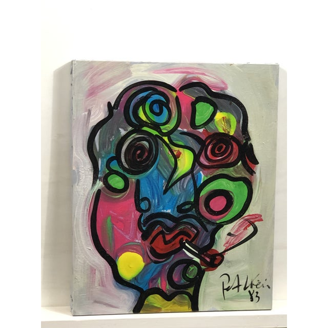 "Abstract 1980's ""Colorful Boy"" Peter Keil Painting For Sale - Image 3 of 4"