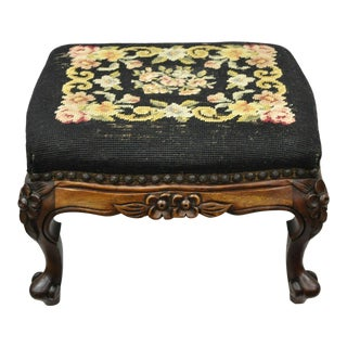 Early 20th Century French Louis XV Victorian Mahogany Needlepoint Footstool For Sale