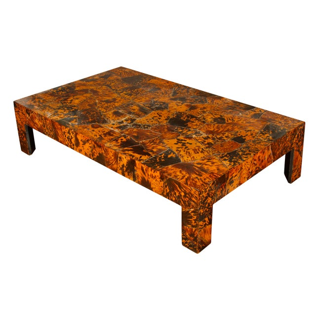 Vintage Gracie Studio faux tortoise oversize coffee or cocktail table. Unique piece would complement a number of design...