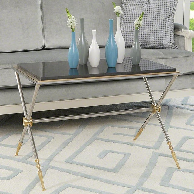 Furniture showroom floor sample sale!! LOVE the black granite top on this cocktail table - perfectly proportioned for a...