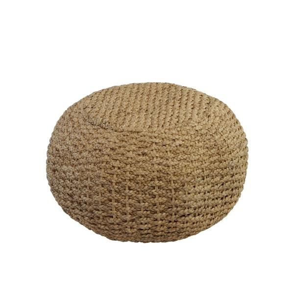 Asian Modern Tan Rattan Pouf For Sale - Image 3 of 3