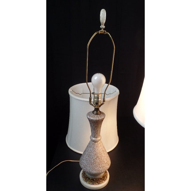 Gorgeous champagne and white colored Murano glass lamps in the style of Barovier e Toso. These lamps are not signed. They...