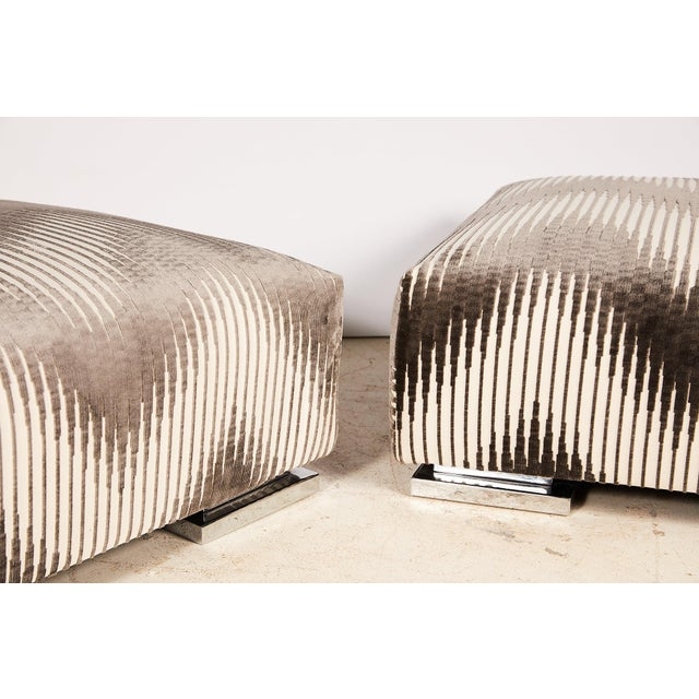 Pair of Midcentury Chrome Footed Ottomans in Jim Thompson Fabric For Sale - Image 11 of 13