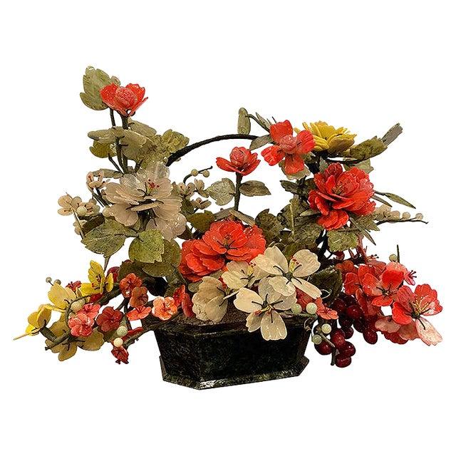 Vintage Chinese Export Hardstone Basket Floral Arrangement For Sale